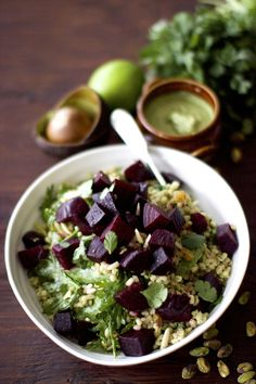 Roasted Beets & Barley Salad with Creamy Avocado-Pistachio Dressing
