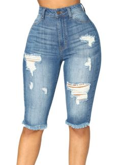 YUNY Womens Summer Oversize Slim High Waist 3//4 Trousers Pants Denim Blue S