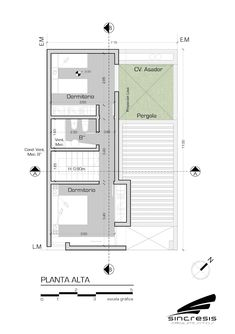 Vivienda AS2: Casas de estilo  por síncresis arquitectos Narrow House Plans, Small House Floor Plans, Indian House Plans, Casa Loft, Micro Apartment, Villa Plan, Small Modern Home, Arch Interior, Floor Layout