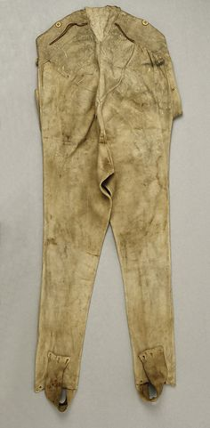 Trousers (back)  Date:     18th century Culture:     probably American Medium:     leather Dimensions:     Length at Side Seam: 43 in. (109.2 cm) C... Accession Number:     C.I.50.98.1