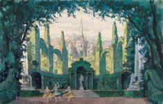 Le Pavillon d'Armide, décor d'Alexandre Benois, scène 2, le jardin © Harvard Theatre Collection
