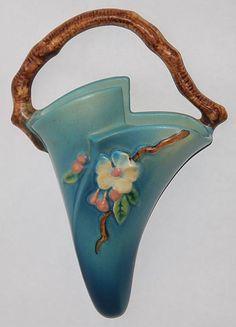 Roseville Pottery Apple Blossom Blue Wall Pocket 366-8 from Just Art Pottery