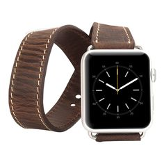 Burkley Watch-Double Tour Genuine Leather Apple Watch Band for Apple Watch 38mm in Antique Coffee
