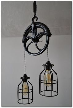 Repurposed Barn Pulley Industrial Light by WestNinthVintage. Would look good in the living area of the barn home or as nightstands in bedroom. - Model Home Interior Design Industrial Bedroom, Rustic Industrial, Industrial Furniture, Design Industrial, Industrial Office, Pipe Furniture, Industrial Interiors, Vintage Furniture, Furniture Design