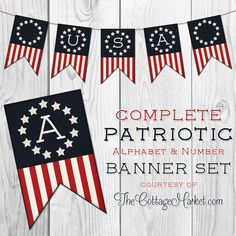 Free Printable Patriotic Banner Set - The Cottage Market