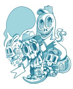T-Shirts | illustration by Burak Şentürk, via Behance Character Illustration, Digital Illustration, Graphic Illustration, Graphic Art, Cartoon Styles, Skull Art, Technical Drawing, Croquis, Vector Art