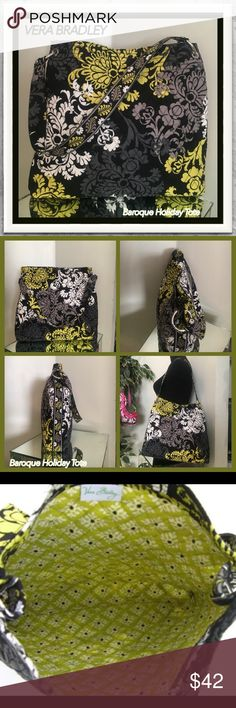 """Vera Bradley Baroque Pattern Holiday Tote -LN Beautiful Vera Bradley BAROQUE HOLIDAY TOTE   Preowned but in extremely good condition! Not mint, but darn near!  Features A Single Strap With Stylish Vera Bradley Engraved Rings On Each Side Magnetic Top Closure Roomy Coordinating Interior Measures 14.5"""" x 13.5"""" x 2.5"""" With 10"""" Strap Drop  Authentic Signature Tag. Please ask questions, if needed and pinch and close the pictures open to view more detail. All sales on Poshmark are final and…"""
