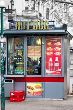 Hot dog stand in Vienna, Austria,