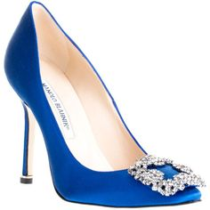Manolo Blahnik Hangisi Satin Pump Blue Classic found on Polyvore
