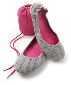 Cityslips Luxe Ballet Slippers. Cozy on a chilly night, these knit slippers fold into a traveling pouch so she can take a little bit of home comfort wherever she roams.  To buy: $40, neimanmarcus.com.