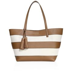 MICHAEL MICHAEL KORS Women's Striped Coated Canvas Large East West... ($310) ❤ liked on Polyvore featuring bags, handbags, tote bags, apparel & accessories, natural, tote handbags, coated canvas tote bags, white purse, michael michael kors handbags and striped tote
