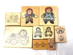 Raggedy Ann & Andy rubber stamp lot rag dolls paper stamping cardmaking card making papercrafting scrapnbooking vintage 90s stamps wood back by Veryfinefinds on Etsy