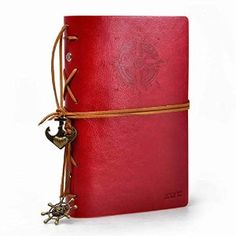ZLYC Vintage String Mediterranean Style Anchor Loose-leaf Handmade Refillable PU Leather Journal Diary Notepad Notebook Red | office school supplies paper notebooks writing pads hardcover ...
