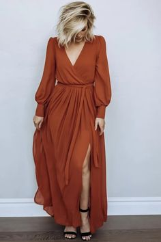 Celine Maxi Dress in Rust Baltic Born This one is my favorite but it s sold out Maxi Dress With Sleeves, The Dress, Maxi Wrap Dress, Long Sleeve Maxi, Chiffon Maxi Dress, Wrap Dress Outfit, Knot Dress, Floral Maxi Dress, Trend Fashion