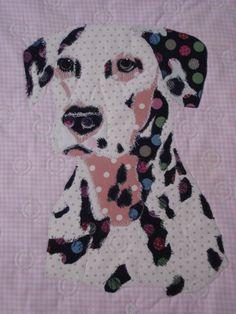Spotty dog...Pet portrait  art quilt