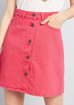 2b596b2ac604 Buttoned In Denim Skirt - Once you've fastened the silver buttons of this  denim