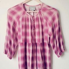 Womens ANTHROPOLOGIE Maeve Pink plaid Graphic Tunic Shirt Top X-Small A1