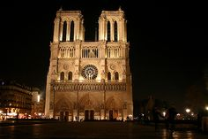Paris Notre Dame Cathedral Night