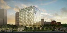 The embassy's crystalline surface results from the interface between an external solar collection and shading system and the internal gla...