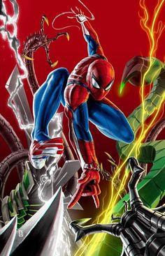 Spider-Man vs the Sinister Six Marvel Comic Universe, Marvel Comics Art, Comics Universe, Marvel Heroes, Marvel Cinematic Universe, Marvel Avengers, All Spiderman, Amazing Spiderman, Bd Art