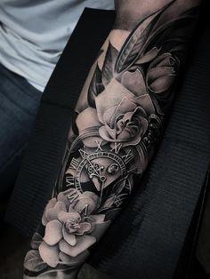 Ramón on - Kir Delgado> Two Gardenias # Tattoo - . - Zwei Gardenien – Ramón on – Kir Delgado> Two garde - Arm Sleeve Tattoos For Women, Half Sleeve Tattoos Forearm, Rose Tattoos For Women, Forarm Tattoos, Full Sleeve Tattoos, Dope Tattoos, Tattoo Sleeve Designs, Arm Tattoos For Guys, Body Art Tattoos