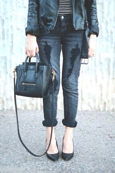 Street Style | Leather Jacket, Stripes, Distressed Denim, Black Pumps & Mini Celine | | { Couture /// In the Details 1