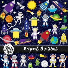 This clip art package contains 42 high-quality space themed clip arts for personal and commercial use. Perfect for transportation themed resources. Format: 300ppi PNG files and JPG file Includes: - stars - astronauts - spaceships - rockets - planets - aliens - moon - sun - satellite