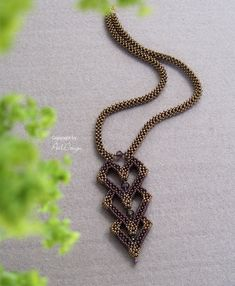 make some of components as ornament cover Charlotte necklace - tutorial by Perl Design. Uses cubic right angle weave Seed Bead Necklace, Seed Bead Jewelry, Beaded Jewelry, Handmade Jewelry, Beaded Bracelets, Seed Beads, Jewellery, Bronze Gold, Ideas Joyería