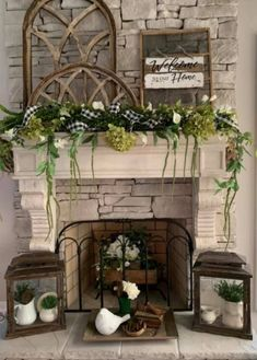 Rustic Fireplace Decor, Cottage Fireplace, Fireplace Shelves, Rustic Fireplaces, Fireplace Remodel, Fireplace Tile Surround, Fireplace Hearth, Transitional Fireplace Mantels, Spring