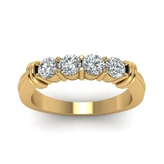 Four Stone Anniversary Band For Ladies Custom Wedding Rings with Diamonds in 14K Yellow Gold  exclusively styled by Fascinating Diamonds