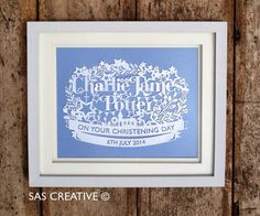 Personalised Papercut Template for Baby Boy Girl by SASCreative