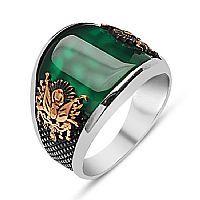 Yeşil Akik Taşlı Osmanlı Armalı Gümüş Erkek Yüzüğü
