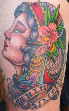 Wes D and Lisa Murphy founded Against the Grain Tattoo 15 years ago, creating a shop in Melbourne, FL where artistic creativity and raw talent converge. Husband Tattoo, Gypsy Tattoos, Color Tattoos, Great Tattoos, Tattoo Shop, Tattoo Artists, Old School, Watercolor Tattoo, Lisa