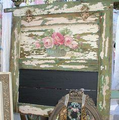 Old Door Repurposed As Chalkboard. Love the Roses!