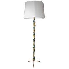 An Italian Sculptural Ceramic and Brass Floor Lamp