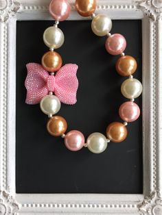 Gold, pink and ivory bubblegum necklace by LilchicboutiqueLIC on Etsy
