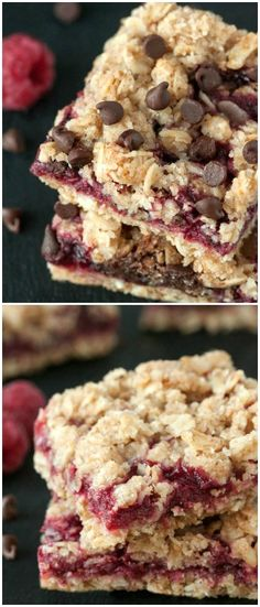 A layer of raspberries and chocolate is sandwiched between a streusel-like crust and topping in these vegan, 100% whole grain and dairy-free chocolate raspberry oat bars.