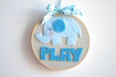 Play Embroidered Hoop Art Wall Decor Wall Art Nursery by TheMemis, $35.00