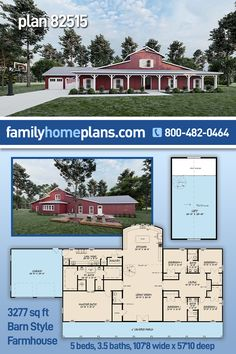 This country style home plan is a modern farmhouse with a barn inspired exterior. The barn-like curb appeal feels warm with long vertical siding and a massive covered front porch perfect for a porch swing and a few rocking chairs to enjoy a glass of cold lemonade on a hot summer afternoon. A unique floor plan with a four-bedroom cluster off a gathering area. A huge master bedroom, large walk-in closets, an open floor plan, large mud/laundry room and open 600 sq ft loft above. #countryliving