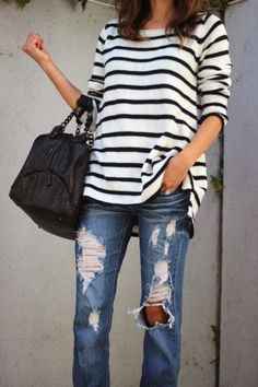 distressed denim and stripes...kinda ready for fall!