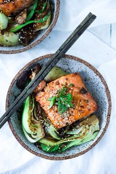 Sheet-Pan Teriyaki Salmon with Baby Bok Choy- a fast healthy dinner- perfect for busy weeknights!   www.feastingathome.com