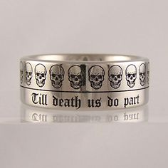 'till death do us part' skull ring #jewellery #jewellerydesign #jewelleryonline #jewelleryset #jewelleryshops #bespoke #asschercut #diamond #diamondrings #style #sapphire #emerald #emeraldring #sapphirering #wedding #weddingrings