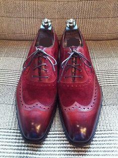 Handmade Men wingtip burgundy color shoes 12e314648f28c