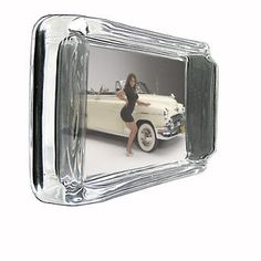 VINTAGE CAR GLASS ASHTRAY