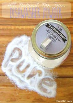 This all natural homemade dishwasher detergent is made from simple, non-toxic ingredients that will keep your dishes clean. Natural Homemade Dishwasher Detergent via No white residue Homemade Cleaning Supplies, Cleaning Recipes, Cleaning Hacks, Homemade Dishwasher Detergent, Dishwasher Soap, Diy Dishwasher Cleaner, Laundry Detergent, Deep Cleaning Tips, Natural Cleaning Products