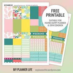 Free Printable Tropical #plannerstickers #freeprintable #mambihappyplanner…