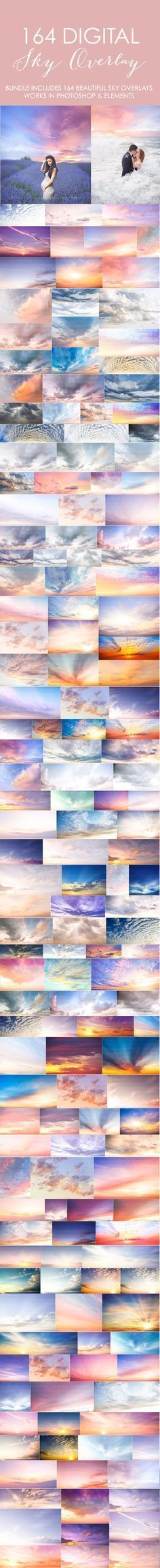 These are STUNNING!!! Bundle includes 164 beautiful sky overlays. Just choose your sky, copy and paste it over your own image and then erase what you don't need. Transform your images into something magical with these sky overlays. $55 #SkyBeutiful