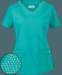 Butter-Soft Scrubs Scallop Neck Top w/ Rhinestone Detail Nursing Wear, Nursing Clothes, Nursing Graduation, Scrubs Outfit, Scrubs Uniform, Clothing Patterns, Dress Patterns, Beauty Uniforms, Medical Uniforms