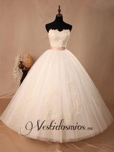 Lindo Princesa Vestidos de Novia Con Cinturon VW1209 [VW1209] - Mex$4,399