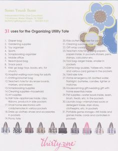 31 Uses for our Organizing Utility Tote www.mythirtyone.com/cierramcgriff